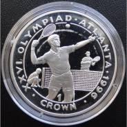 1 крона.1996г. Гибралтар. Олимпиада/Теннис. Серебро. Proof.
