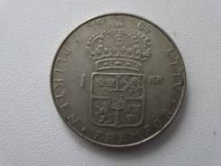 Швеция 1 крона 1964 г. Серебро 400 пробы.