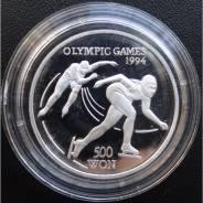 500 вон. Северная Корея.1993г. Олим-да/Коньки. Серебро. RARE. Proof.