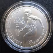 1 доллар.1996г. D. США. Олимпиада/Теннис. Серебро. UNC.
