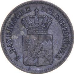 Бавария 1 крейцер 1866 год (иностранная монета)