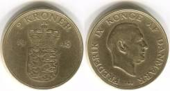 Дания 2 крона 1948 год (иностранные монеты)