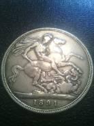 Англия Крона 1891г. Виктория. Серебро.
