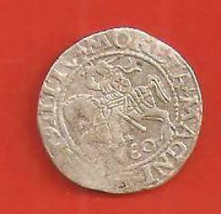 1/2 гросс. 1560 г. Серебро, Польша средневековая, Сигизмунд. Редкость.
