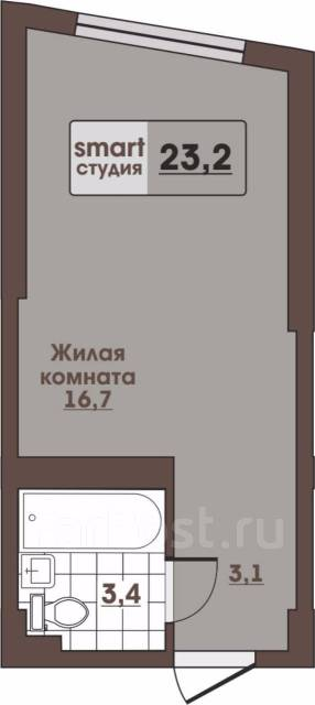 1-комнатная, улица Леонова 70. Эгершельд, застройщик, 23 кв.м. План квартиры