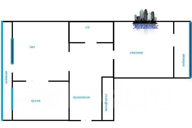 2-комнатная, улица Авроровская 17. Центр, агентство, 67кв.м. План квартиры