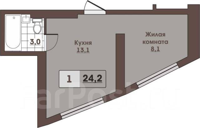 1-комнатная, улица Леонова 70. Эгершельд, застройщик, 24 кв.м. План квартиры