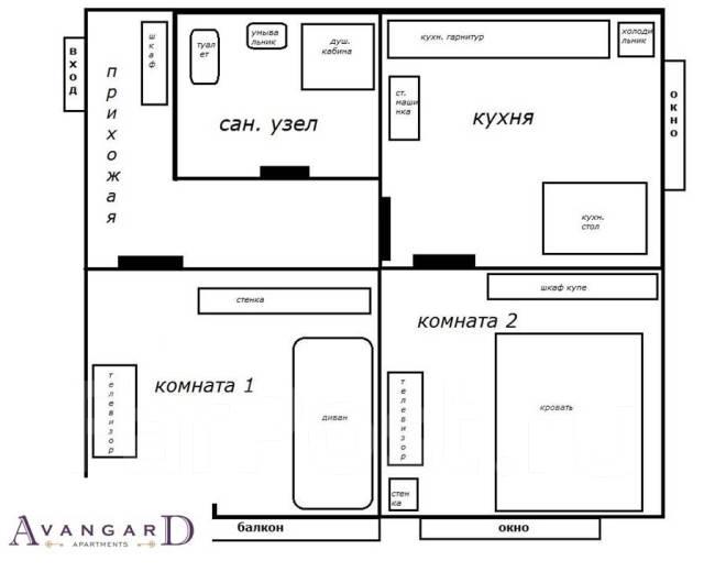 2-комнатная, улица Башидзе 5. Центр, 57 кв.м. План квартиры