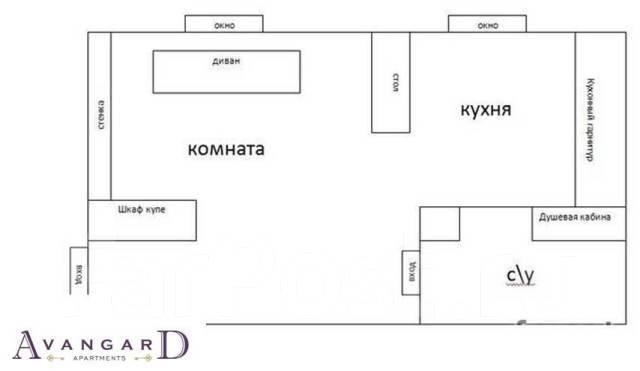 1-комнатная, проспект Океанский 98. Первая речка, 35кв.м. План квартиры