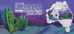 Австралия 1 доллар 2016 Акула на карте. Серебро. Эмаль. Коробка
