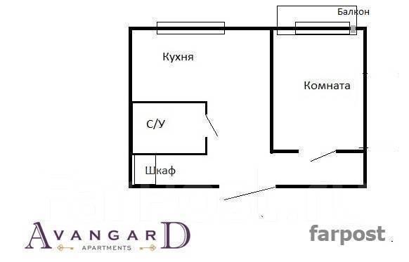 1-комнатная, улица Аллилуева 12а. Третья рабочая, 33 кв.м. План квартиры