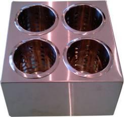 КОНТЕЙНЕР для столовых приборов 250х250х130мм, 4 емкости нерж. квадрат кт751-1