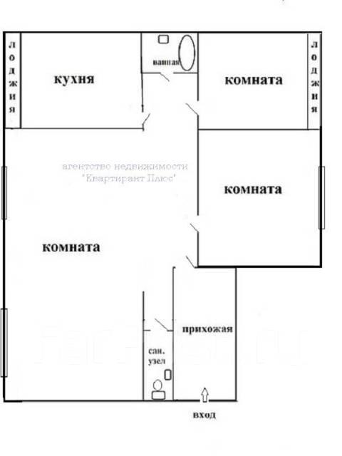 3-комнатная, проспект Красного Знамени 94. Толстого (Буссе), проверенное агентство, 75 кв.м. План квартиры