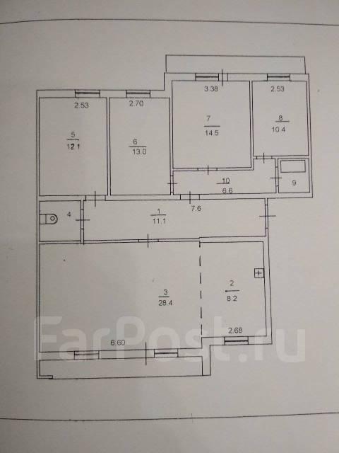 4-комнатная, улица Комсомольская 6. Центр, агентство, 110кв.м. План квартиры