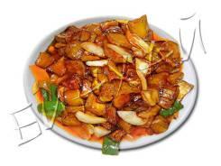 Баклажаны кусочками в кисло-сладком соусе