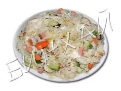 Рис по Харбински (крабовые палочки, кукуруза, грибы, яйцо)