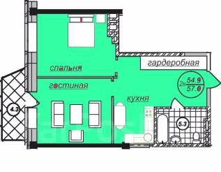 2-комнатная, улица Шевчука 30б. Индустриальный, агентство, 55 кв.м.