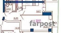 1-комнатная, улица Калинина 13 стр. 2. Чуркин, застройщик, 44 кв.м. План квартиры