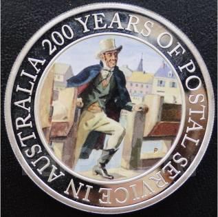 1 доллар.2009г. Австралия.200 лет почте Австралии. Серебро/Цв. RRR. Proof.
