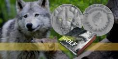 Ниуэ 1 доллар 2017 Волк. Объемный чекан. Сваровски. Серия