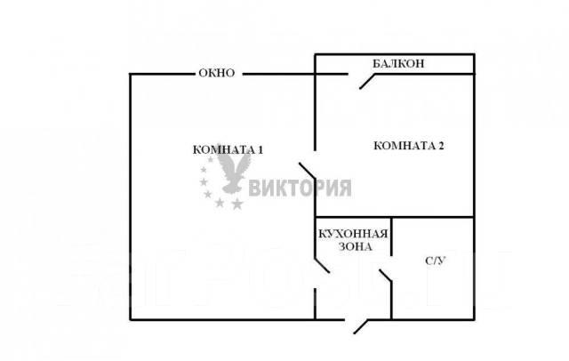 1-комнатная, улица Давыдова 20. Вторая речка, агентство, 29 кв.м. План квартиры