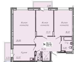 3-комнатная, проспект Красный 179/1. Заельцовский, частное лицо, 105,0кв.м.