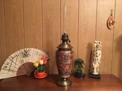 Антиквариат Большая керосиновая лампа Сатсума эпохи Мэйдзи , Япония. Оригинал