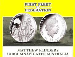 О-ва Кука 1 доллар 2016 Matthew Flinders. Корабль Парусник. Серия