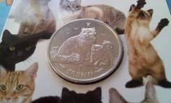 Остров Мэн. Огромная 1 крона 2007 г. Кошка с котятами в буклете. Рэгдо