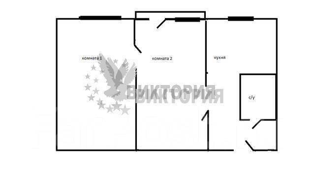 2-комнатная, улица Багратиона 8. Вторая речка, агентство, 48 кв.м. План квартиры