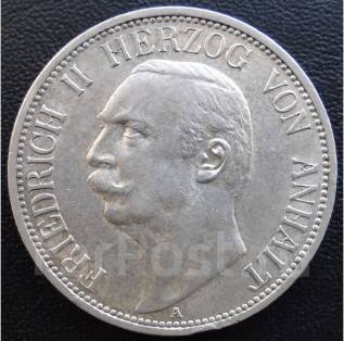 3 марки.1911г А. Анхальт-Дессау. Фридрих II. Серебро. RARE. XF+.
