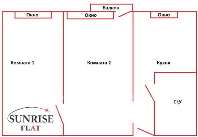 2-комнатная, проспект 100-летия Владивостока 66. Столетие, 44кв.м. План квартиры
