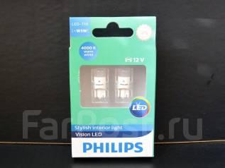 Philips лампы в габариты T10 W5W Vision LED 4000K (2 шт. ). Toyota: Altezza, Sprinter, Wish, Passo Sette, Alphard, Caldina, Corona Exiv, Starlet, Hiac...