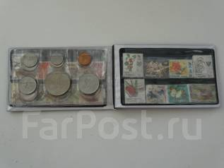 Сингапур и Малайзия туристический набор монет с марками.