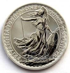 2 фунта 1998 г. Англия. Стоящая Британия ( 1 унция серебра) 32,45 гр.