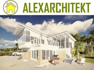 ZL 2 AlexArchitekt Летний, одноэтажный дом. 100-200 кв. м., 1 этаж, 3 комнаты, комбинированный