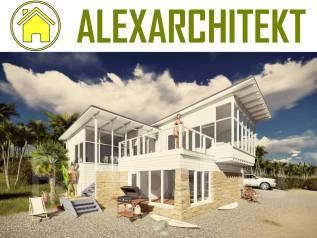 ZL 2z AlexArchitekt Летний, одноэтажный дом. 100-200 кв. м., 1 этаж, 3 комнаты, комбинированный