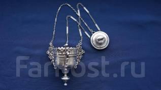 """Cтаринная лампада с оригинальной цепью из серебра """"84"""" пр. XIX век."""