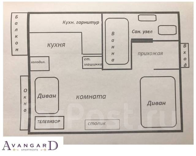 1-комнатная, проспект 100-летия Владивостока 20. Столетие, 32 кв.м. План квартиры