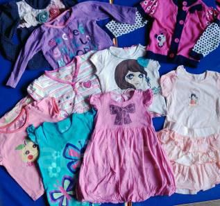 Основная одежда для девочки 18-24, лот футболки, кофты, платье. Рост: 86-92, 92-98 см