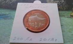 Редкость! Сен-Пьер и Микелон. 200 франков 2013 г. Супер рыбина. Флот!