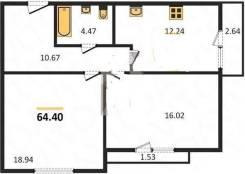 2-комнатная, орудийная 122. агентство, 64 кв.м.