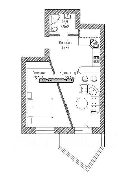 1-комнатная, улица Совхозная 1 кор. 3. Краснодар, Без района, частное лицо, 53кв.м.