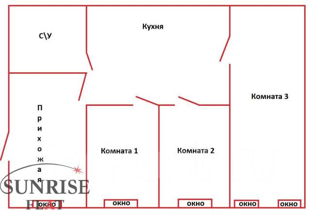 3-комнатная, улица Адмирала Фокина 19. Центр, 65кв.м. План квартиры
