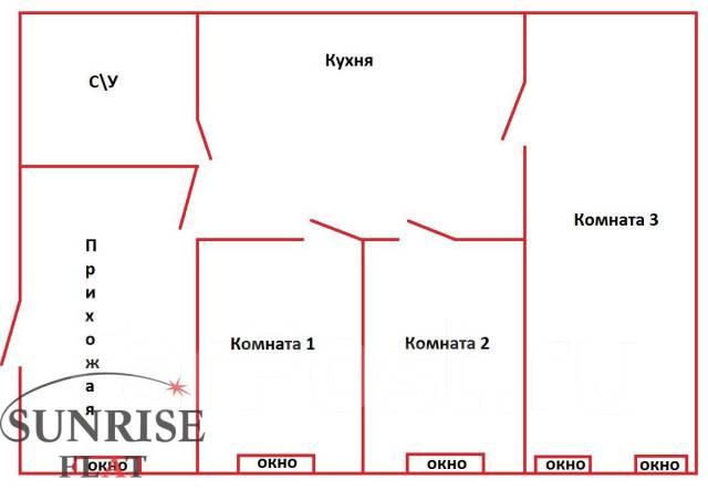 3-комнатная, улица Адмирала Фокина 19. Центр, 65 кв.м. План квартиры