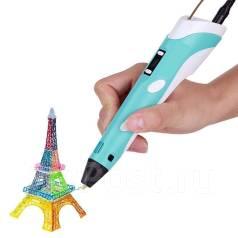3D ручка 3Д, 2 поколение с дисплеем синяя + Пластик, Есть доставка