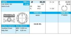 Поршень. Toyota: Picnic Verso, Camry, Wish, Avensis Verso, RAV4, Avensis Двигатель 1AZFE. Под заказ