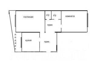 2-комнатная, улица Чапаева 2. частное лицо, 52 кв.м. План квартиры
