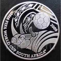 5 долларов.2009г. Палау. Носорог/Футбол. Серебро. Proof.