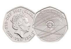 Великобритания 50 пенсов 2017г. 375 лет со дня рождения И. Ньютона